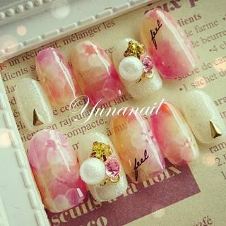 pink flower gel nail