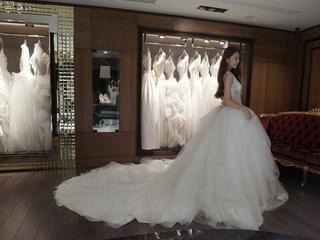 法國透膚蕾絲公主婚紗
