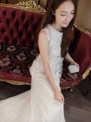 美麗天使~立體蕾絲雪紡法國進口白紗