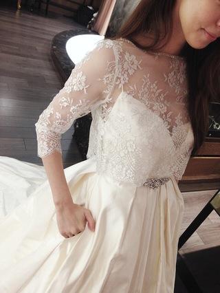 口袋設計!蕾絲罩紗緞布法國進口白紗