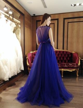 紫羅蘭知性美!透紗寶石亮片飄紗晚禮服