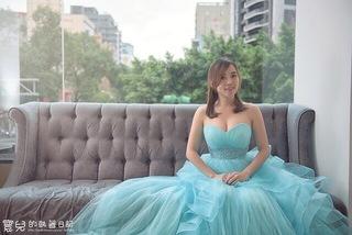 湖水藍法式小蓬裙
