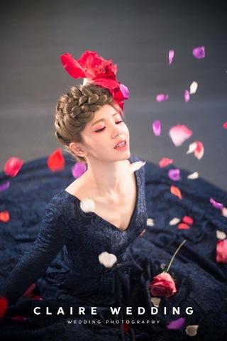 Claire克萊兒手工禮服 時裝設計靛藍晚禮服
