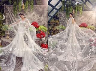 優雅魚尾白紗,東方女性也能駕馭的完美設計
