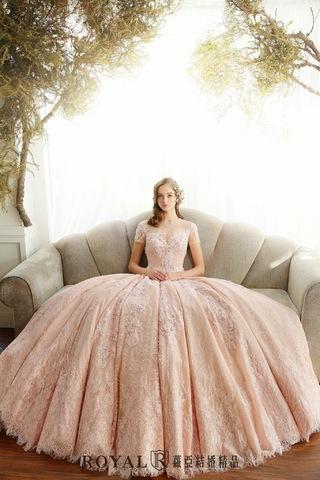 🌸少女心大悅🌸蘿亞獨家粉紅蕾絲禮服